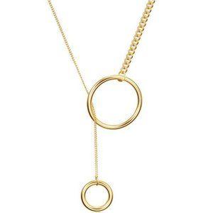 2 Circle Long Pendant Necklace